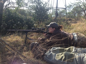 Michelle took successfully shot and killed her warthog with one shot from the prone position.  Image: Britney Starr